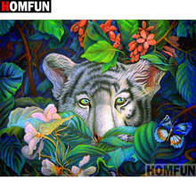 HOMFUN Full Square/Round Drill 5D DIY Diamond Painting tiger 3D Embroidery Cross Stitch Home Decor Gift A15638