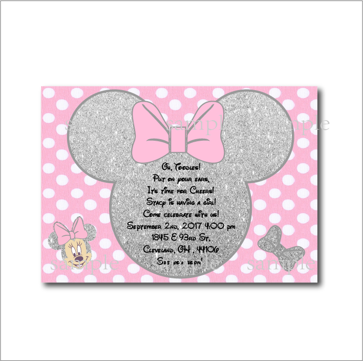 20 pcs/lot Minnie Mouse Silver glitter Girls Party Invitations ...
