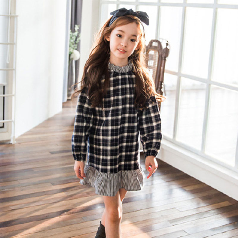 spring 2018 preppy style children school dress for girls cotton ruffles plaid princess dress for kids clothing 4 5 6 8 10 12 Y цены онлайн