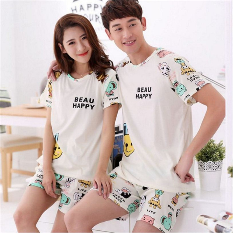 Newest Men/Women fashion cartoon animals printing Round Neck Short sleeved shorts Sleepwear Summer Couple Leisure Pajamas stes