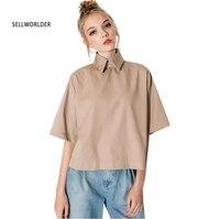 2017 SELLWORLDER Retro Preppy Style Shirt Fashion Turn Down Collar Blouse Slim Women Shirt For Wholesale