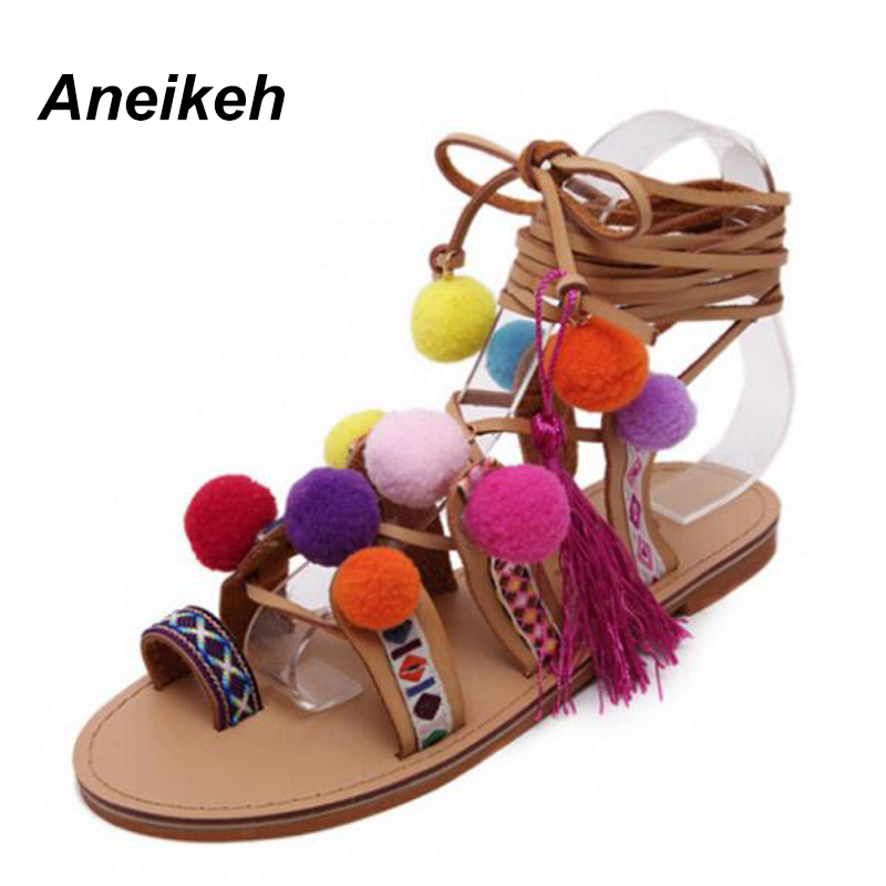 Aneikeh 2018 Sandalias Pompones Suede Pom Pom Gladiator Sandals Women Lace up Knee High Flat Sandal Women Shoe Summer Brown