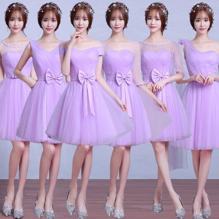Corto chicas ocasión elegante criadas de las novias lavanda luz ...