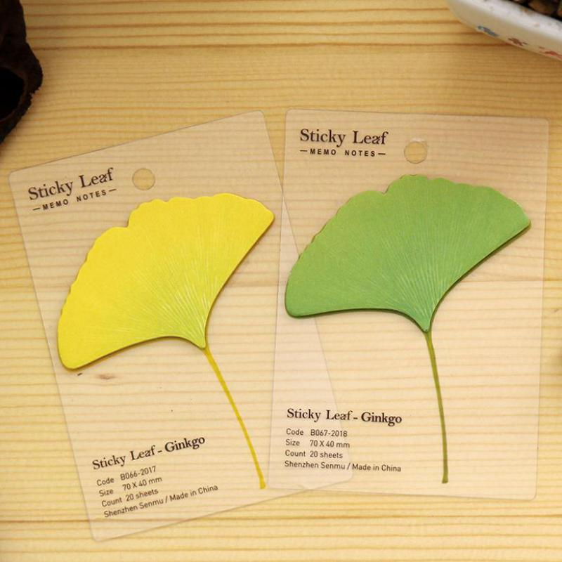 5pcs Creative Cute Simulation Plant Of Ginkgo Leaf Kawaii Stickers Diy Post N Sticker Memo Pad South Korea Cartoon Stationery
