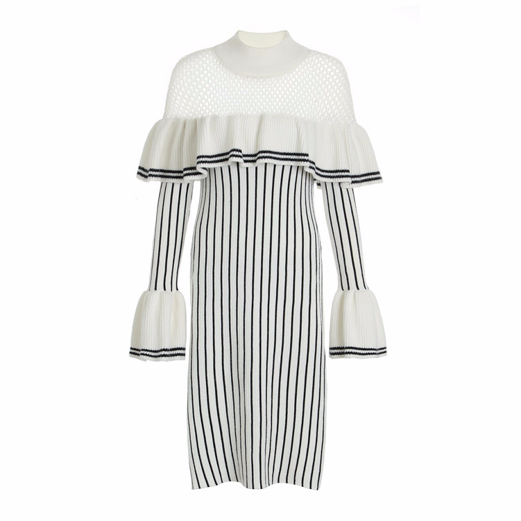 New with sweater female autumn stripe long sleeved round collar hollow out E1086 falbala knitted dress