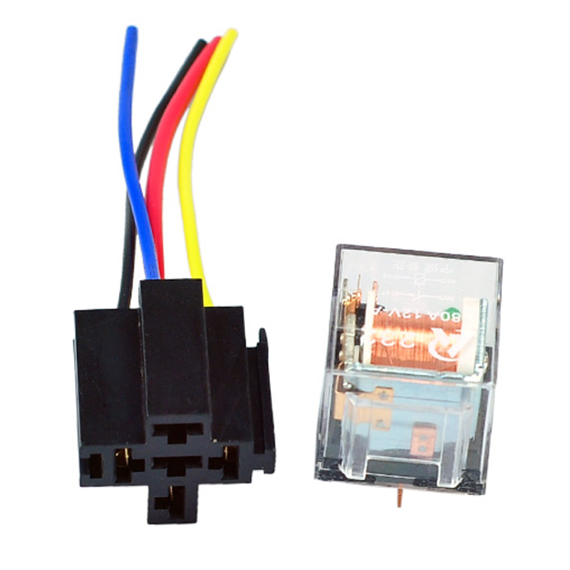 5 Set Car Relay Socket SPST 4 Pin 4P 4 Prong 4 Wire 12V 80A 80 A Transparent Shell Relays Fit for 12V Auto motor Universal in Car Switches Relays from Automobiles Motorcycles