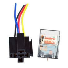 5Pcs 12V 80A 80 AMP SPST Relay  4 Pin 4P & Socket 4 Wire Transparent Shell Fit For Car Motor Truck