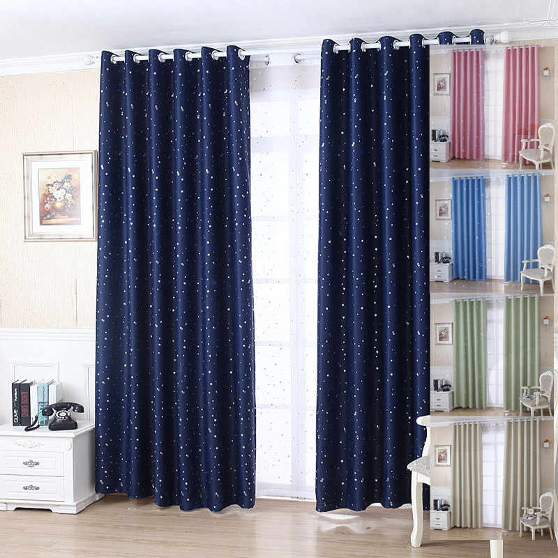 Modern Shiny Star Curtains For Living Room Window Curtains For Bedroom  Blue/Pink Kid Curtains Fabrics Ready Made Draps Blinds &2