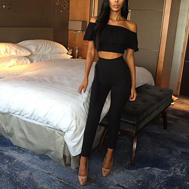 Sexy Frauen Crop Tops + Lange Hosen Zwei-stück Set Body Casual Outfits Strampler S72