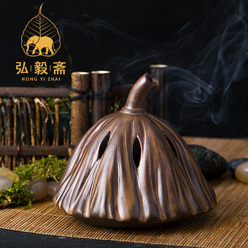 Hong Yizhai Chen incense incense burners stove ceramic antique incense burner incense ornaments lotus china copper brass censer workmanship nine dragons play phoenix incense burner