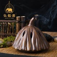 Hong Yizhai Chen incense incense burners stove ceramic antique incense burner incense ornaments lotus buffalo backflow incense burner smoke waterfall incense burner holder ceramic censer ceative home decor aromatherapy environment