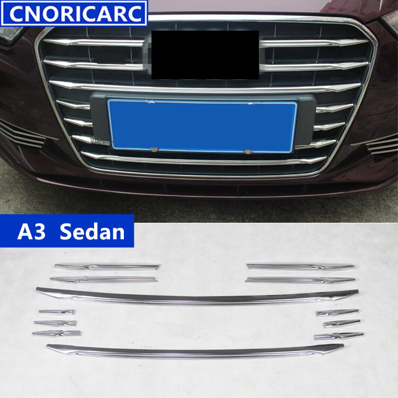 For Audi A3 Sedan Car Front Air Grille Cover Trim Strips Exterior Accessories 12pcs Stainless Steel Decoration Sequin  grille