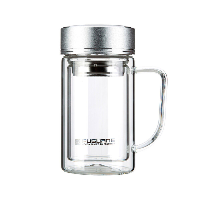 Clear Gl Jar With Handle Drink Water Bottle Tea Infuser Filter Coffee Tumbler Travel Mug Double
