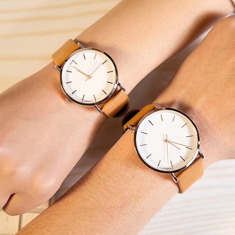 Prix pour Marque de luxe simple visage poignet montres pour hommes et femmes de mode mince mince en cuir quartz-montre couple amant horloge étanche