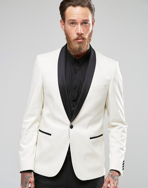 Tailor Made Slim Fit White Male Blazer Black Lapel Men\'s Wedding ...