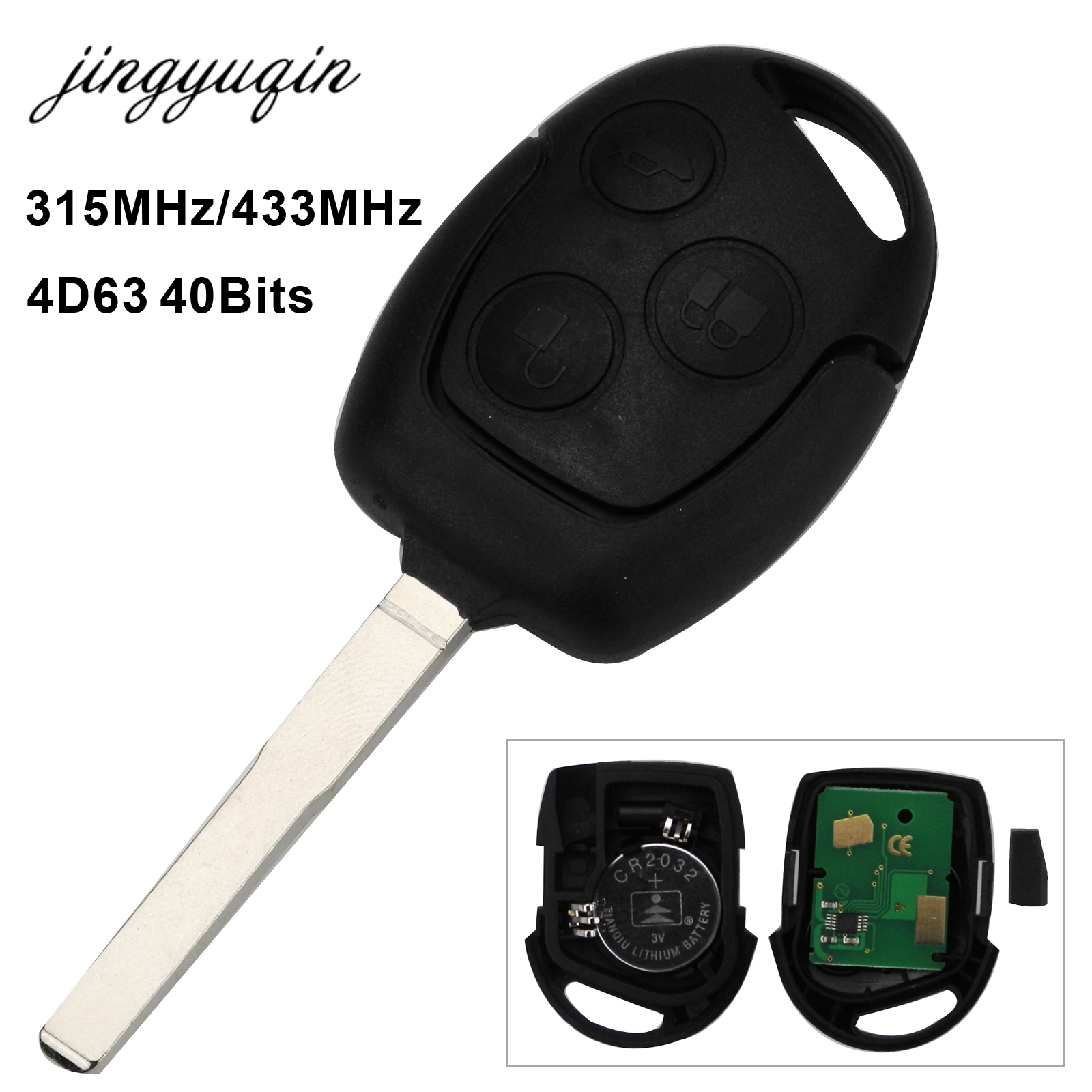 jingyuqin HU101 Blade Remote Key 3 Button 315/433MHz 4D63 Chip for Ford Focus Fiesta Mondeo Fusion Transit KA Galaxy C-Max S-Max