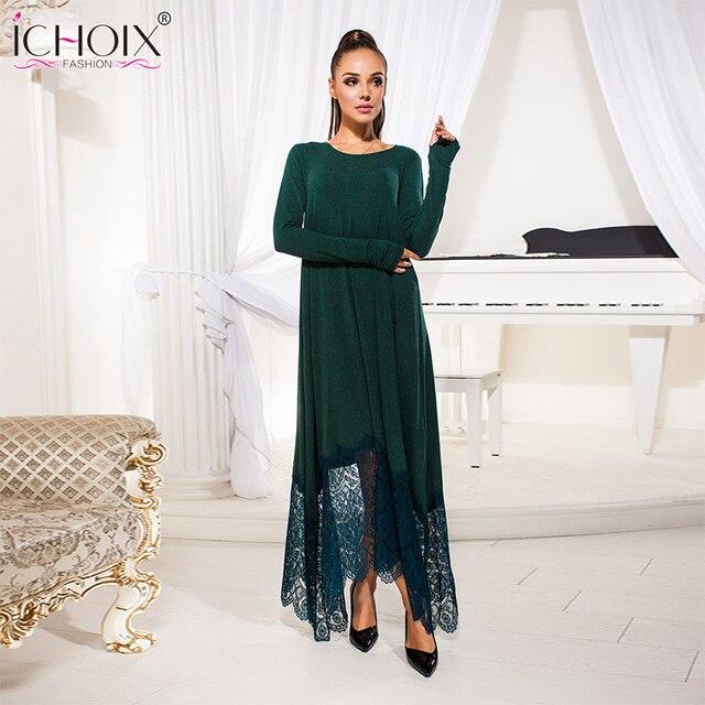 Длинное Кружево платье на осень зима Винтаж Вечеринка Платья для женщин пола Длина плюс Размеры стильное платье Мода синий зеленый