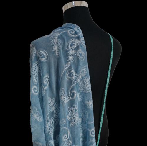 1meter the butterfly lake blue embroidered silk embroidery for French haute couture