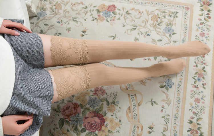 Новинка 2019 года; женские зимние вязаные высокие ботинки выше колена; высокие теплые чулки; кружевные леггинсы; Гольфы; Medias de mujer