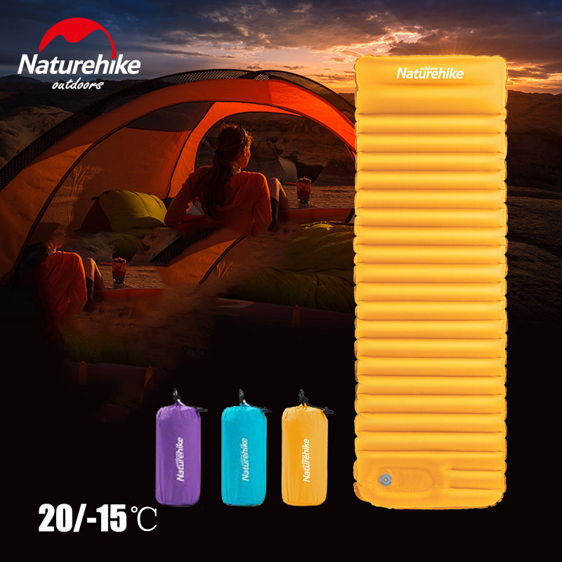 Naturehike NH18Q001-D Outdoor Push Inflatable Camping Mat for Tent Cold Waterproof Sleeping Pad Picnic Folding Mattress Winter