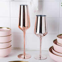 Rose Gold Red Wine Glass Cyrstal Goblets Juice Drink Champagne Goblet Party Barware Dinner Water Chic Luxury 350ml 400ml