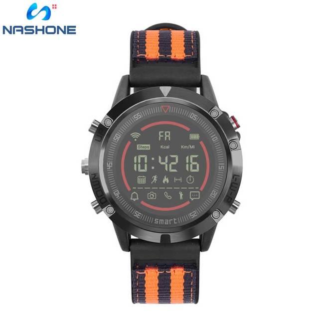 Nashone montres pour hommes étanche montre intelligente passomètre rappel dappel multi fonction en acier inoxydable montre de sport horloge numérique