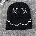 2016 Harajuku Trendy Big Pin Paper Clip Women Men knit Hat Wool Hat Female Cold Cap Sleeve Head Cap Warmer Winter HatHT-180