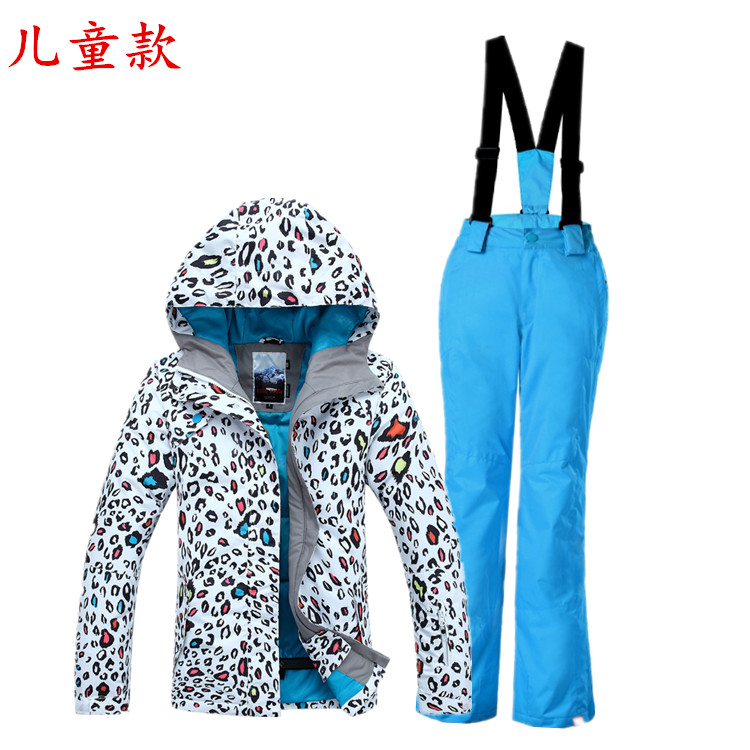 Girls Ski Jacket Ski Pants High Quality Ski Suit For Kids Gsou Snow Parent Children Suit Leopard ...