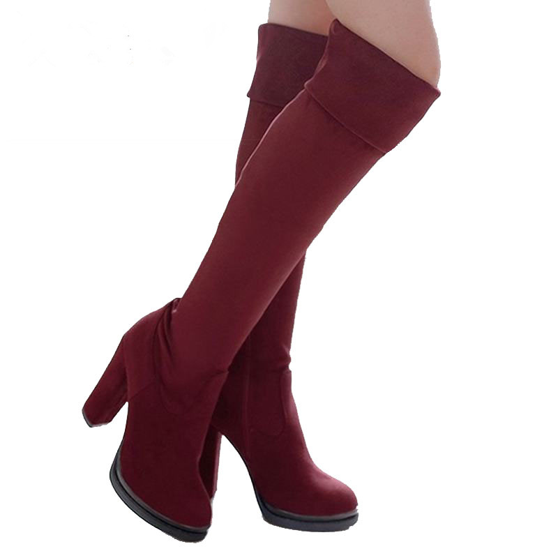 Fashion 2017 Women Over The Knee Boots Sexy Flock High Thick Heels Platform Round Toe Riding Shoes 34-43
