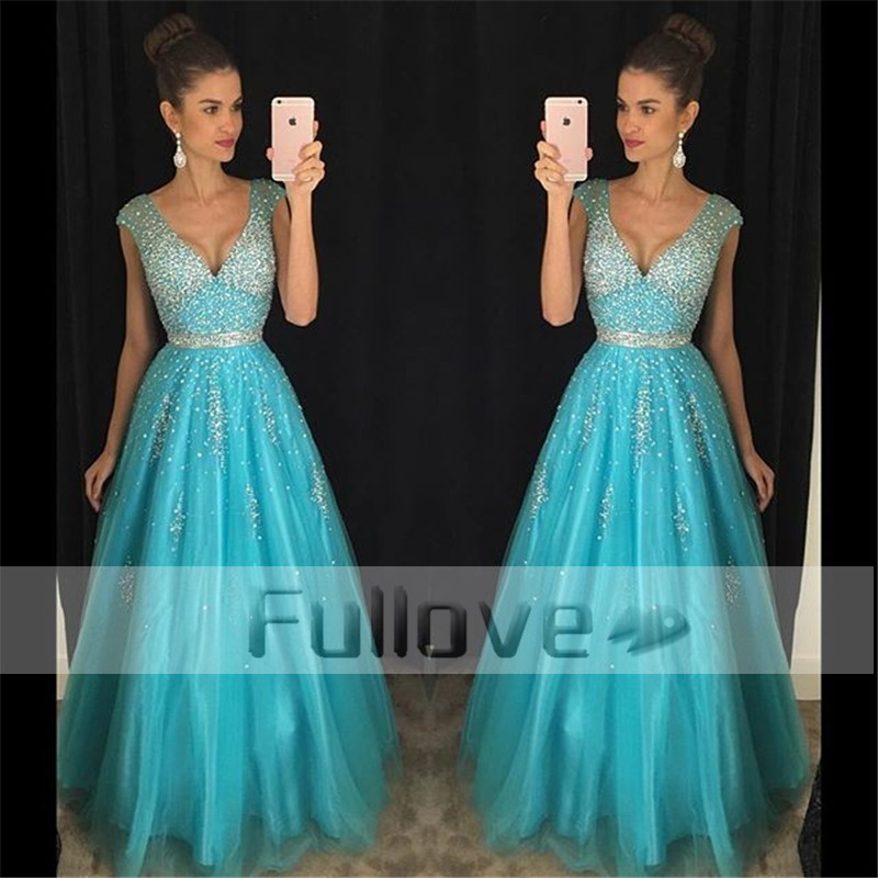 Fashion Sky Blue   Prom     Dress   Long 2019 V-Neck Shining Crystal Beaded Sashes A-Line Evening Party Gowns Vestidos De Fiesta Abiye