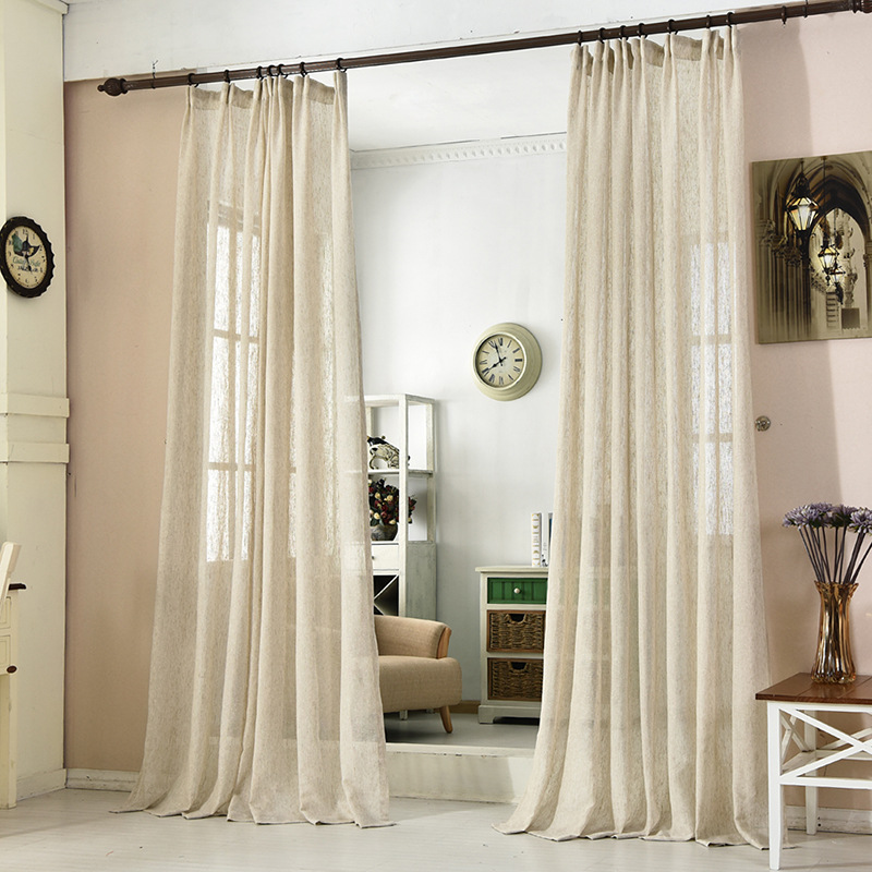 Hot Sale Japan Linen Tulle Curtains For Bedroom Sheer Window Kitchen Curtains For Living Room Solid Color Curtains For Kids