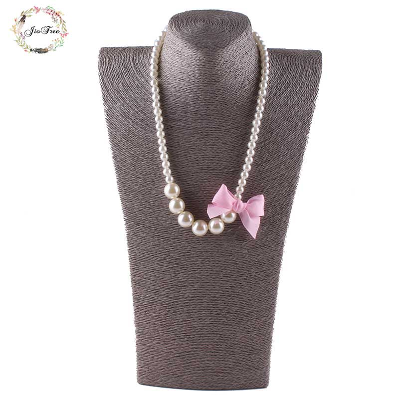 JIOFREE Classic Bowknot Imitation Pearls Chain Necklaces for Kids Baby Girls Princess Dress Accessories Charm Jewelry Gift