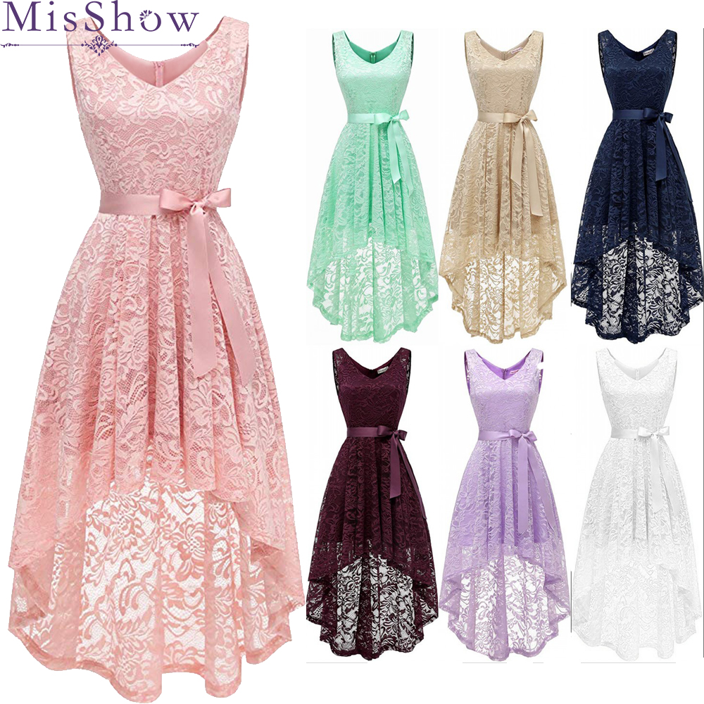 Vintage Short front Long Back High Low Lace Homecoming Dresses 2019 In stock Cheap Pink Party Dress Cocktail Party Gowns