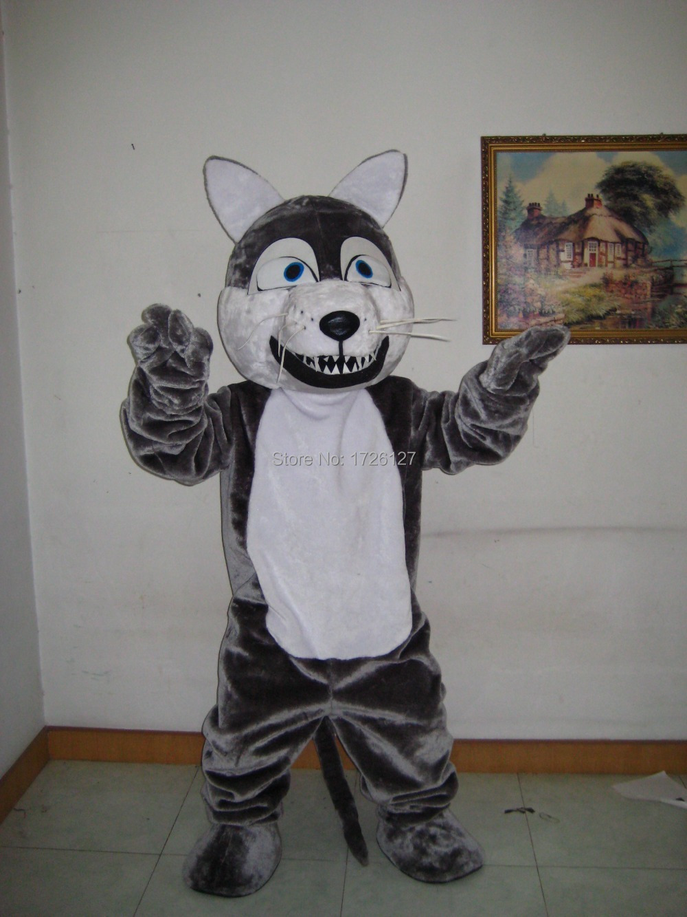 mascot plush grey wolf mascot Coyote werewolf costume custom fancy costume anime cosplay mascotte theme