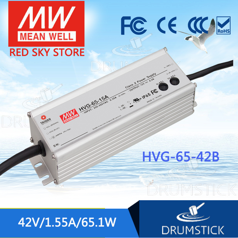 Hot sale MEAN WELL HVG-65-42B 42V 1.55A meanwell HVG-65 42V 65.1W Single Output LED Driver Power Supply B type скакалка start up jr 07a цвет синий