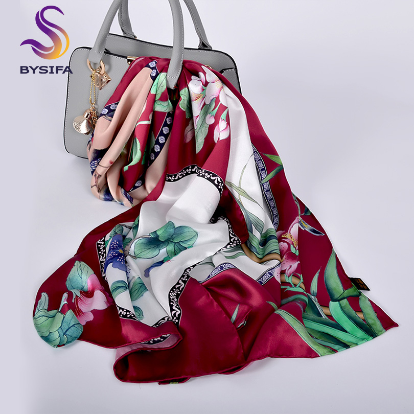 [BYSIFA] Fashion Brand Silk   Scarf   New Chinese Style Long   Scarves     Wraps   Top Grade Silkworm Cocoon Silk Neck   Scarf   Cape Foulard