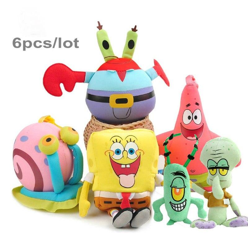 6pcs/set SpongeBob Plush Toys Patrick Star Doll For Children Holiday Gift Soft Anime Stuffed Squidward Tentacles Cartoon Doll