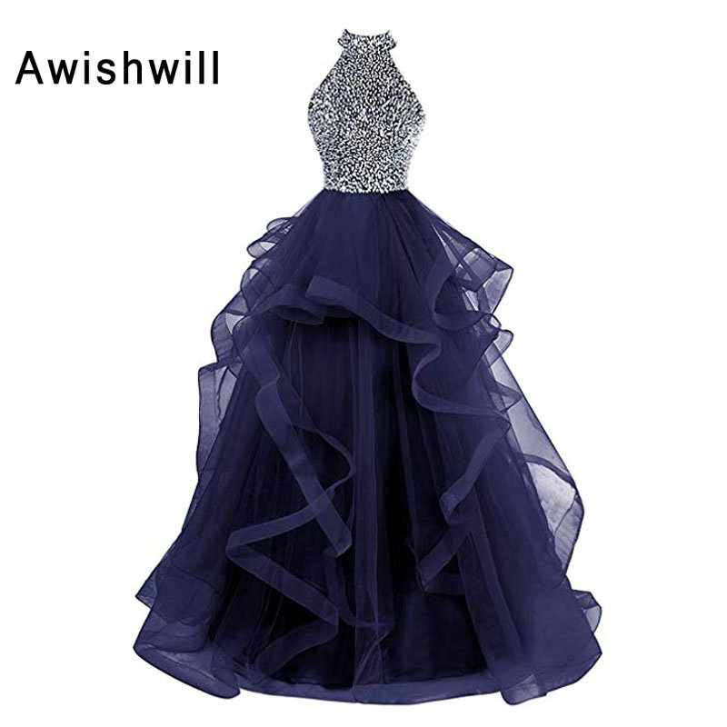 Vestidos De Fiesta Largos Elegantes De Gala 2019 Open Back Beadings A-line Floor Length Long Prom Dresses For Women Party Gowns