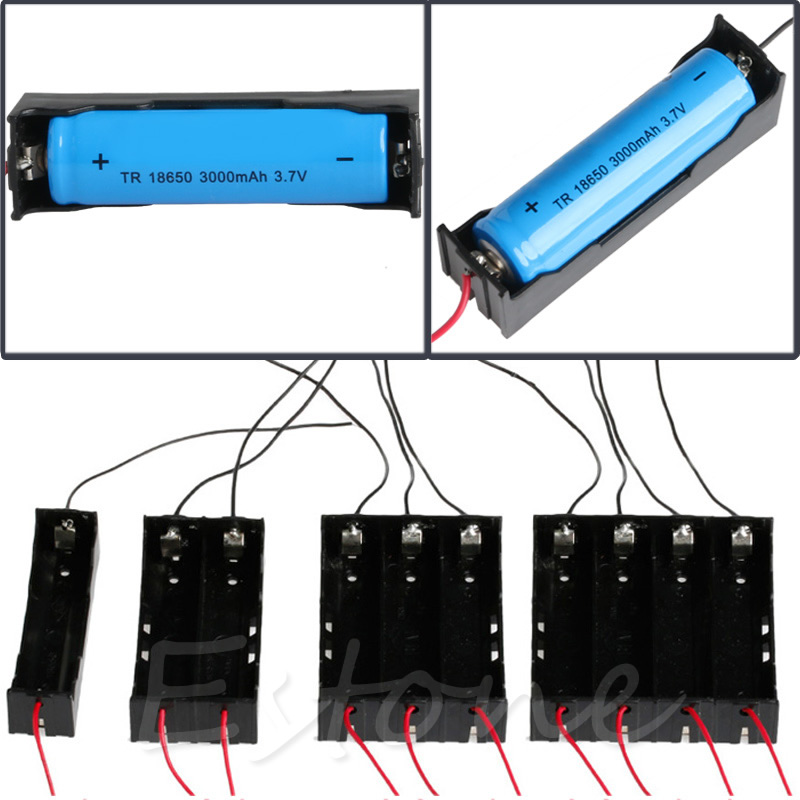 Plastic Battery Holder Storage Box Case For 1x - 4x 18650 Rechargeable Battery Without Battery