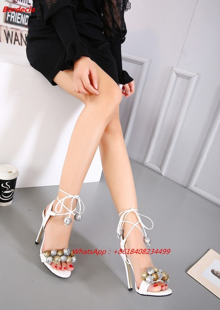 Ankle Strap Bling Fur Ball Women Sandals Open Toe Sexy High Heels Women Nightclub Party Shoe Cut Out Thin Heels Princess Sandals