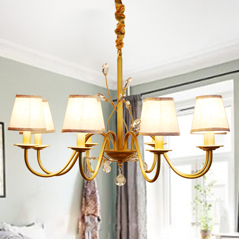 American country droplight Nordic Restaurant wrought iron+k9 crystall lamps lights imitation copper lamp Cloth art wall lamp