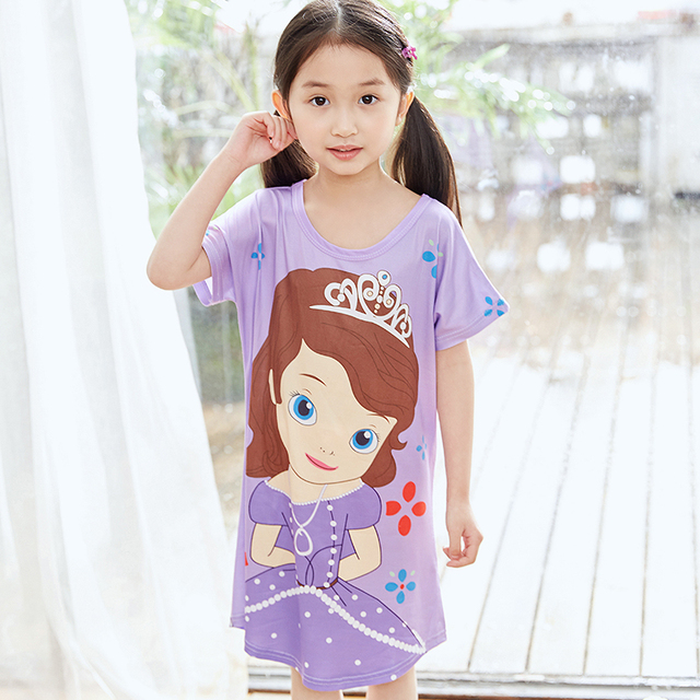 6f252bc6fd3 US $4.69 49% OFF|Nieuwe Meisjes Prinses jurk losse korte Mouw Nightgowns  meisje zomer Pyjama kinderen leuke Nachtkleding Nachthemd Kids Kleding in  ...