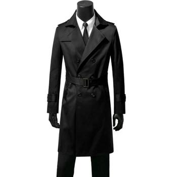 Double-breasted mens trench coats belt man long coat men clothes slim fit overcoat long sleeve black blue khaki brown autumn