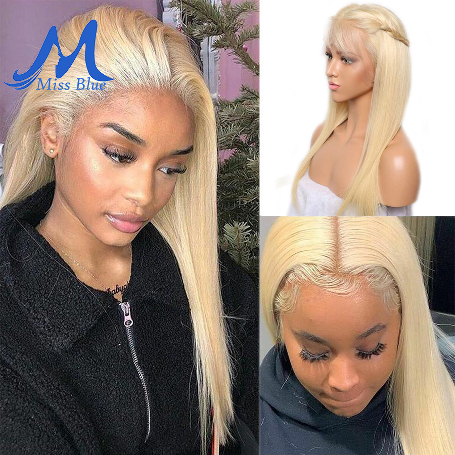 Missblue 613 Honey Blonde Brazilian Remy Hair Wig With Baby Hair Dark Root Lace Front Human