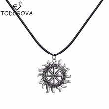 Todorova Kolovrat Slavic Amulet Sun Wheel Pendant for Men Necklace Round Silver Vintage Jewelry