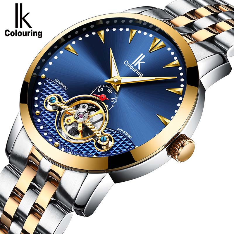 Skeleton Automatic Watch Men IK colouring watch Relogio Masculino luminous Stainless Steel Strap Watch Luxury Man Wristwatch ik luxury fashion casual stainless steel men automatic mechanical watch skeleton watch for men s dress wristwatch free ship