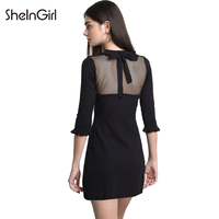 SheInGirl 2018 Women Black Sweet Mini Dresses Knitted Patchwork Sheer Back Lace Up Butterfly Half Sleeve