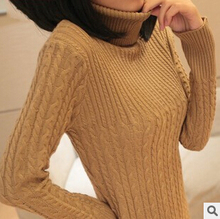 2016 new womens spring autumn winter turleneck long sleeve cable needle knitted sweaters women pullovers sweater