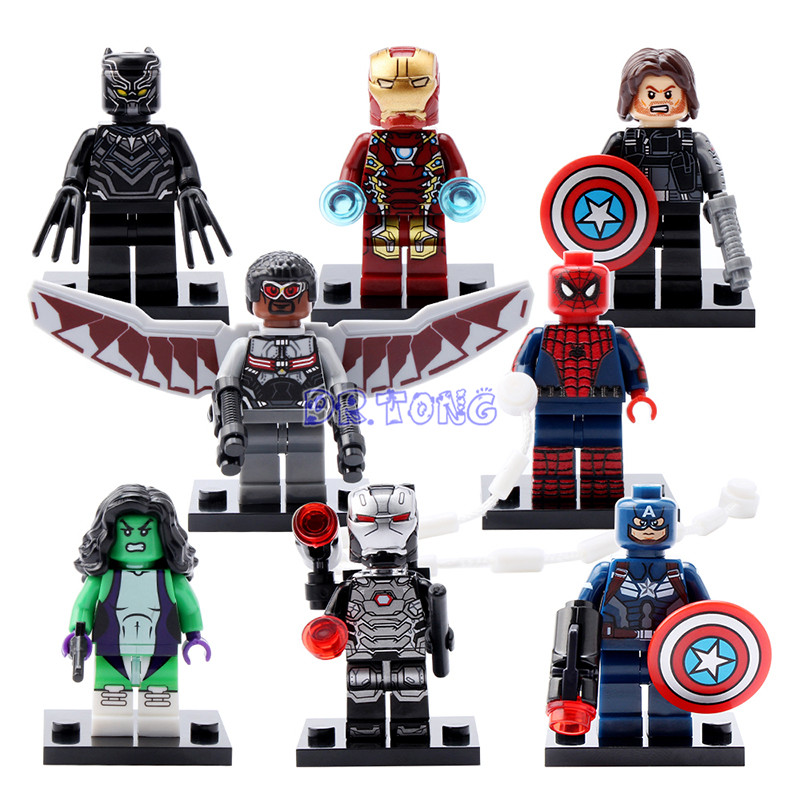 DR.TONG Marvel Super Heroes Falcon Spider-Man Iron Man She-Hulk Black Panther Captain America 3 Civil War Building Blocks Toys marvel legends avengers civil war captain america iron man black widow black panther scarlet witch ant man pvc action figure toy