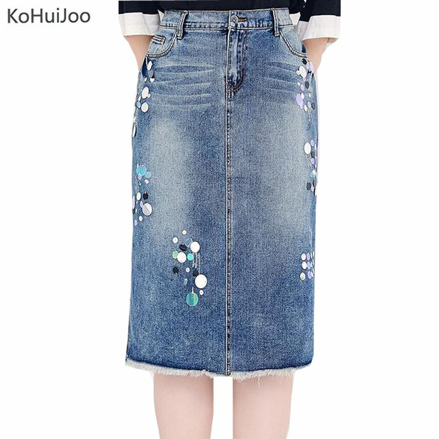 37e3dc25a01 6xl 7xl Plus Size Denim Skirts Women Casual Front Slit Sequined Patchwork  Strech High Waist Jeans Skirts Ladies 2018 Blue